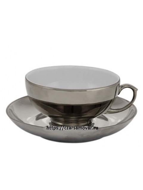 Чайная пара с напылением под серебро