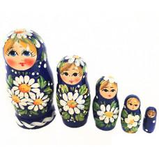 """Матрешка """"Ромашки на синем"""" 5 мест"""