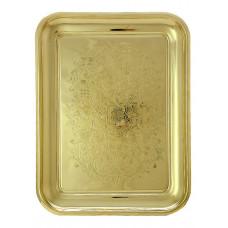Поднос прямоугольный латунный с гравировкой, Кольчугино