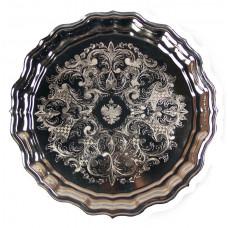 Поднос круглый никелированный с гравировкой, Кольчугино