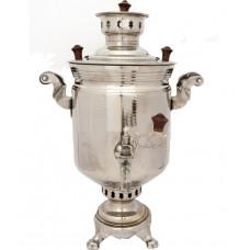 Самовар угольный/дровяной никелированный 5 литров банка