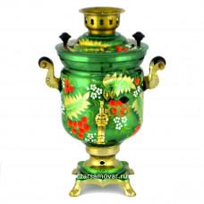 """Самовар электрический 3 литра с художественной росписью """"Ветви рябины на зеленом"""" автоотключение"""