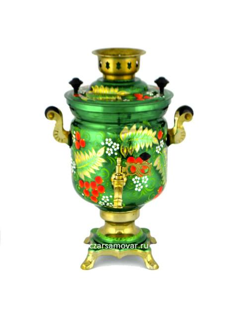 """Самовар электрический 3 литра с художественной росписью """"Ветви рябины на зеленом"""""""