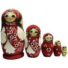 Матрешка авторская  жженая 5 мест красный костюм