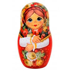 Чай Матрешка сувенирная с цветами, красная 50 гр.