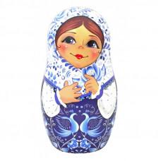 Чай Матрешка сувенирная с птицами, синяя 50 гр.