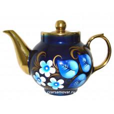 """Заварочный чайник с художественной росписью """"Жостово на синем"""""""