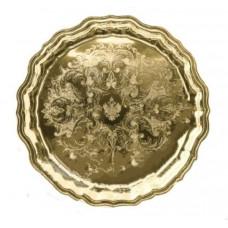 Поднос круглый латунный с гравировкой, Кольчугино