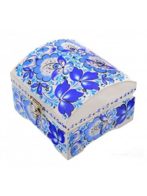 Шкатулка прямоугольная с хохломской росписью (синяя гжель) с формой крышки сундучок