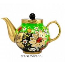 """Заварочный чайник с художественной росписью """"Ромашки на зеленом"""""""