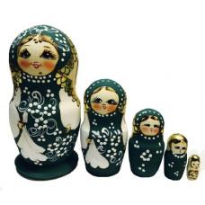 Матрешка авторская  жженая 5 мест зеленый костюм